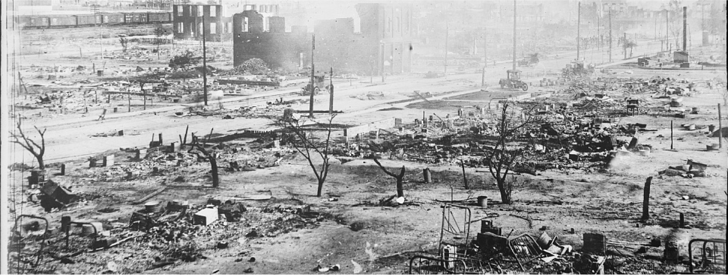 Image of the aftermath of the Tulsa Race Massacre. Courtesy of the Library of Congress's American Red Cross Collection.