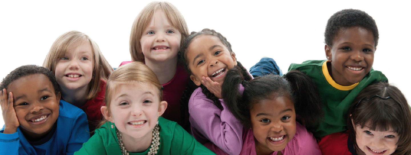 A group of children posed together smiling
