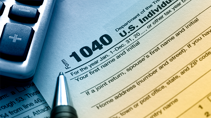 Image of a 2020 1040 Tax Form