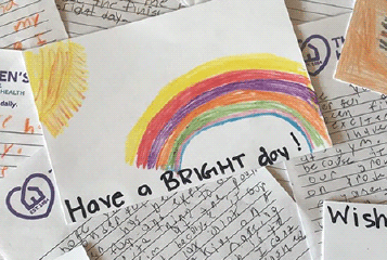 "Image of a hand drawn card submitted by a volunteer that reads ""Have a bright day!"""