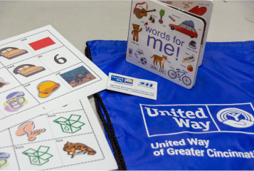 Image of a Lit Kit created by volunteers that includes resources, games and a book.