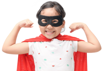 Picture of a small child in a superhero costume