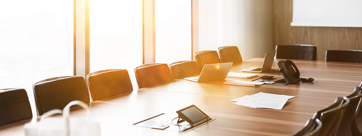 Stock image of a board room.