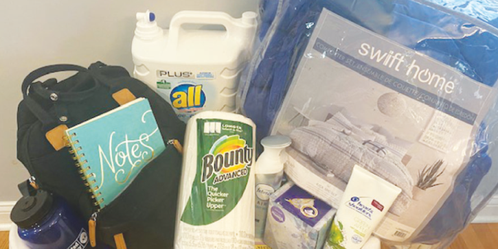 Image of a College-Success First Generation Care Kit including home care and health products.