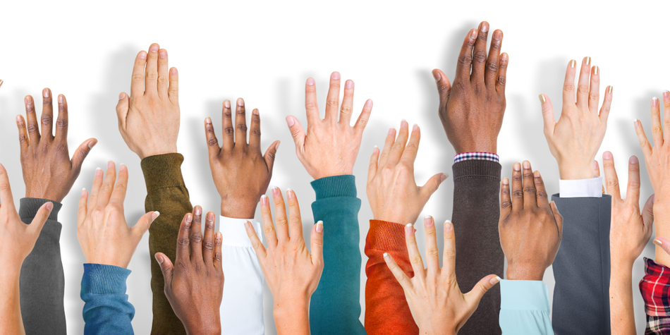 Image of diverse people raising their hands