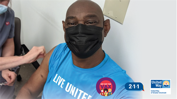 United Way of Greater Cincinnati's Alan Branch gets his COVID vaccination