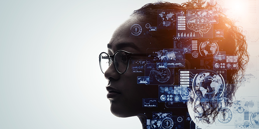 Graphic of African American Woman thinking about technology.