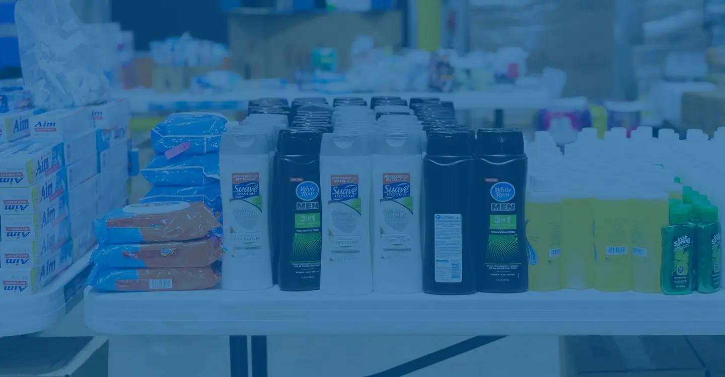 Personal hygiene items lined up on a table