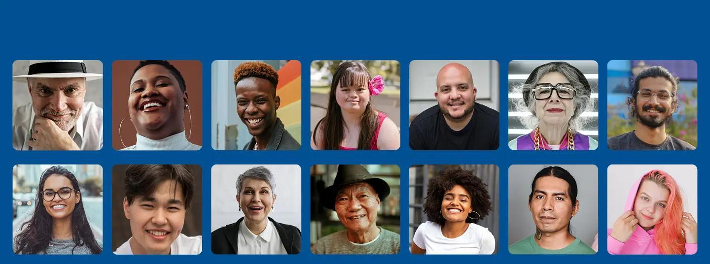 Portraits of diverse people.