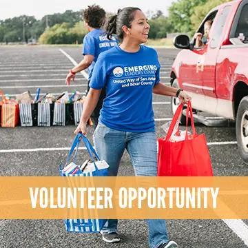 """A volunteer is holding bags of food and the text reads """"Volunteer Opportunity"""""""