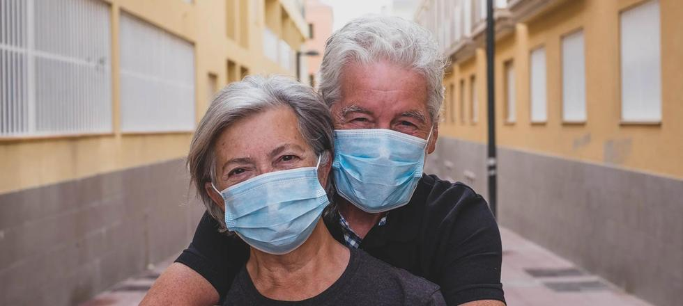 Older couple with masks
