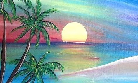 Epic Domain Epic Tropic Sunset Paint Party Remote Paint Party Small Online Class For Ages 9 12 Outschool