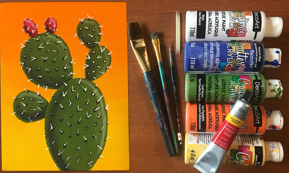 Simple Acrylic Painting Pear Cactus Small Online Class For Ages 10 14 Outschool