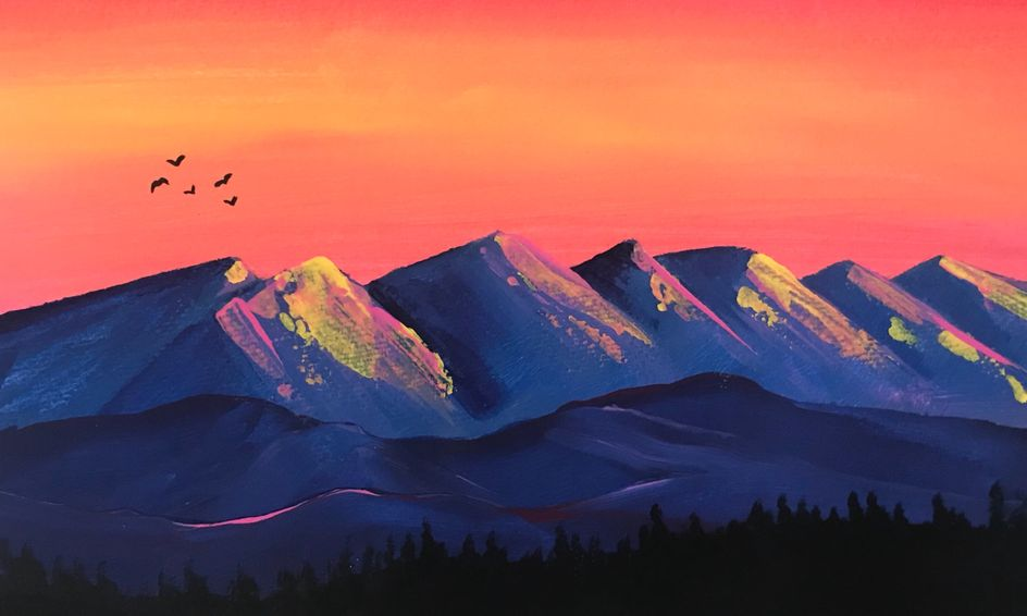 Simple Acrylic Painting Mountain Sunset Small Online Class For Ages 10 14 Outschool