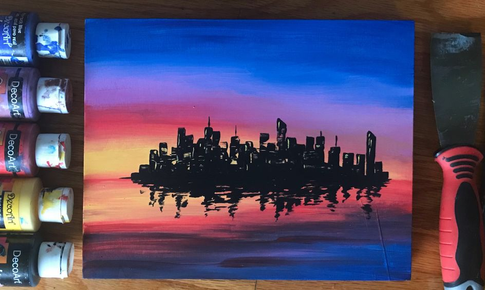 Simple Acrylic Painting City Landscape Sunset Small Online Class For Ages 10 14 Outschool