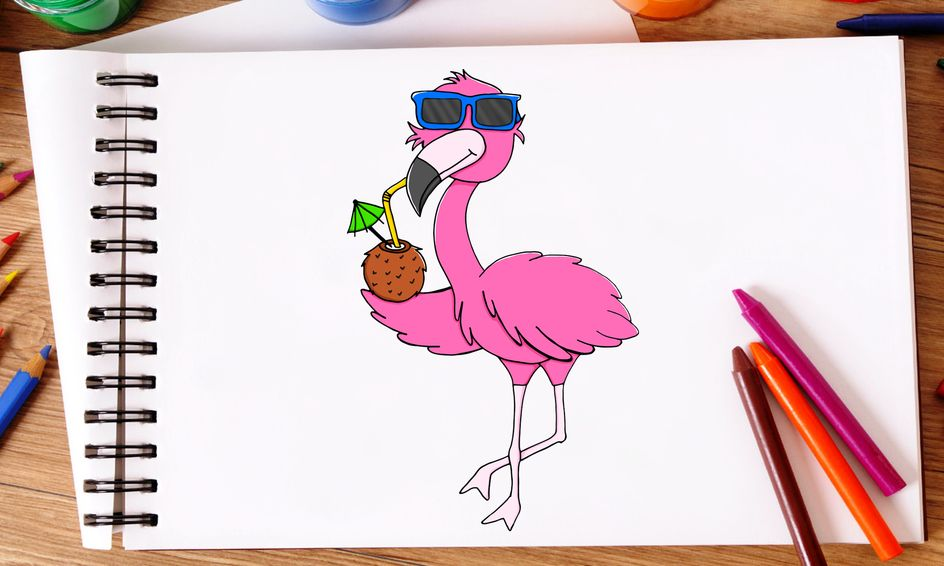 Happy Flamingo Party - Drawfully Fun Draw With Me Series!   Small Online Class for Ages 7-12   Outschool
