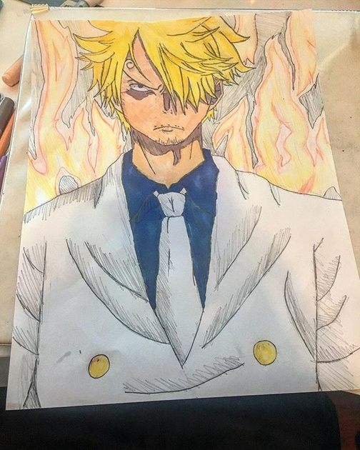 Artrepreneur James Nguyen Special Drawing Sanji Vinsmoke Anime One Piece Op August 12th 2019 Used Mechanical Pencil Eraser Copic Ciao And Color Pencils Process Sketch Outline Color