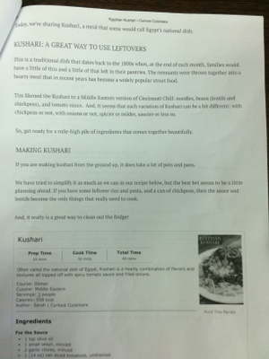 A copy of a recipe for Kushari, an Egyptian dish.