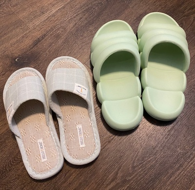 Pairs of indoor slippers in my house.