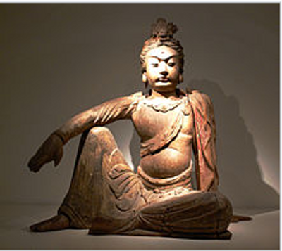 A Wooden Sculpture of A Guan Yin
