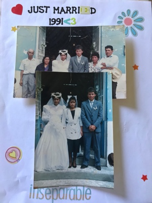 My parents on their wedding date October 20, 1991 with my aunt (my mothers sister) and both grandparents.
