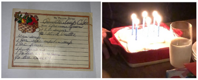 L - Recipe Card, R- Calhoun Cake