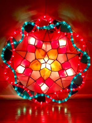 An image of the parol lit up.