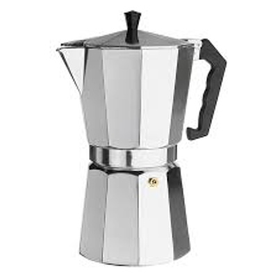 It is a silver coffee pot that produces all kinds of coffee