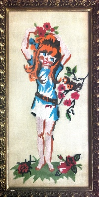 Needle-Point of Girl Dancing in Flowers