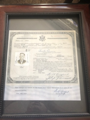 Picture of Naturalization Papers
