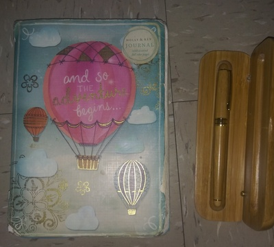 Colorful notebook + bamboo fountain pen
