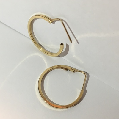 The earrings on a white background.