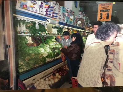 My parents at a grocery store