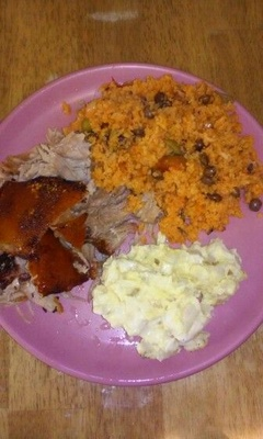 This is a plate of Puerto Rican food.