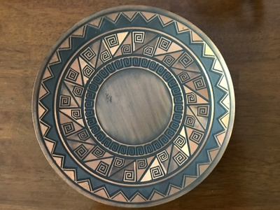 The hand-made plate.