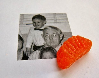 My great-grandfather, Zetho, and I at their home in Little Rock, Arkansas and a candy orange slice.