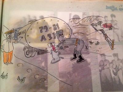 cartoon of soldiers sneaking wine