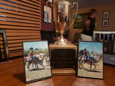 Photos of during the race and the trophy