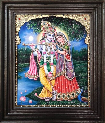 Tanjore painting of Krishna and Radha