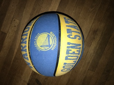 My personal basketball which is a warriors ball.