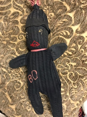 The doll made of socks.