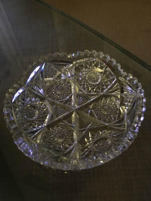 Cut glass bowl handed down to me from great grandfather Helling.  Used at every holiday meal