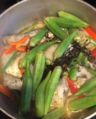 Steamed fish and Okra, carrot, tomato.