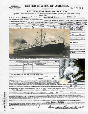 Petition forNaturalization, 1908 arrival