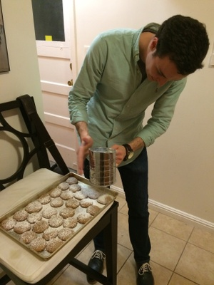 Sifting sugar in our SF apartment