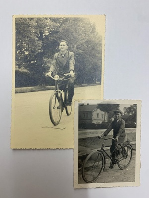 Leo on his bicycle c.1946 and c.1935
