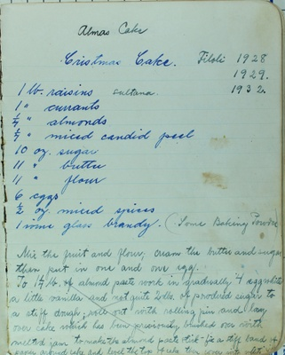"A recipe described as ""Alma's Cake,"" a Christmas dessert that was made at Filoli in 1928, 1929 & 1932."