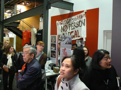 "Banner from Khmer Girls in Action, on display at the opening of ""Deporting Cambodians,"" February 5, 2009."
