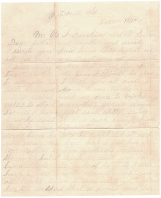 Page One of Letter