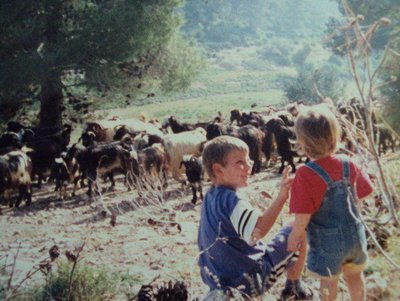 My brother & I watch a herd of goats